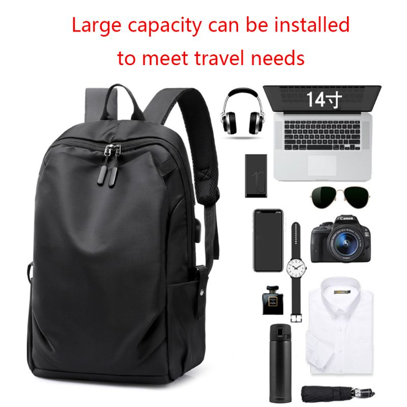 Men's Nylon Backpack  With USB Charging Port School Travel Laptop Daypack Bookbags Casual Rucksack For Teenagers