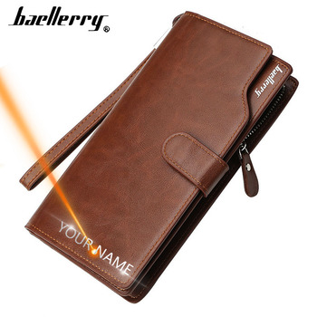 2020 Baellerry Men Wallets Name Engraving Long Style High Quality Male Purse Card Holder Zipper PU Leather Wallet For Men