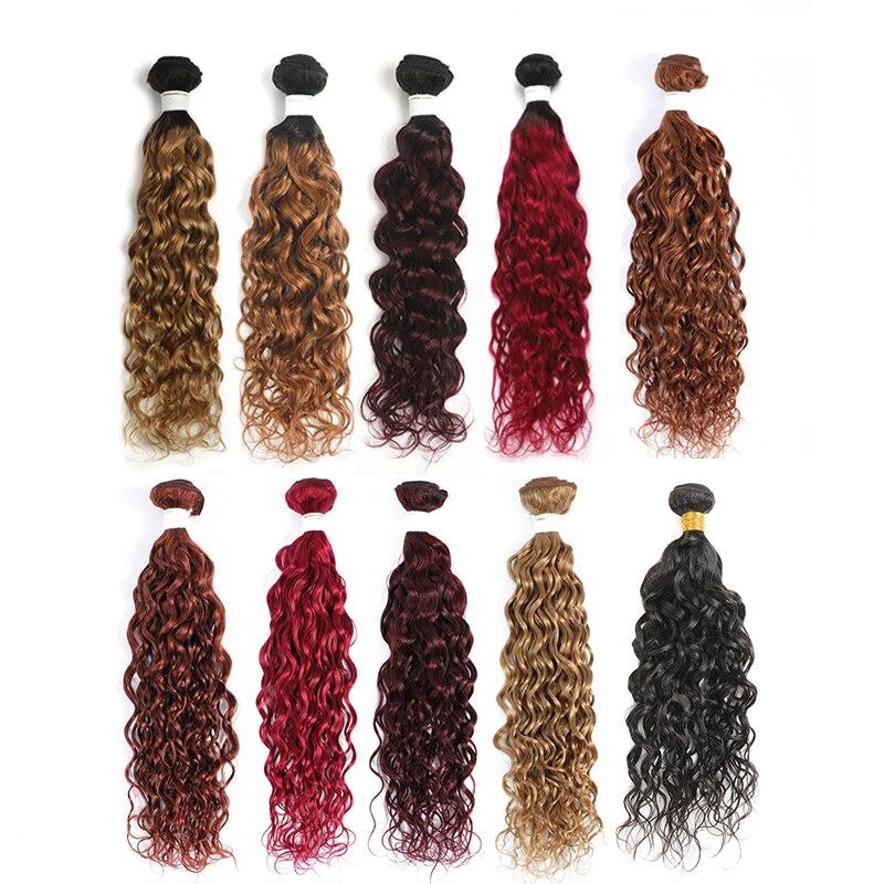Волнистые человеческие волосы пряди 8-26 дюймов бразильские эффектом деграде (переход от темного к вплетаемые волосы цвета блонд для наращив...