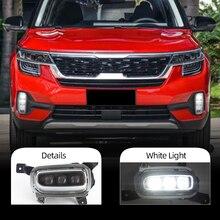 Car LED Foglights Relay-Lamp Daytime Turn-Signal CSCSNL KIA for Seltos Yellow 2PCS DRL