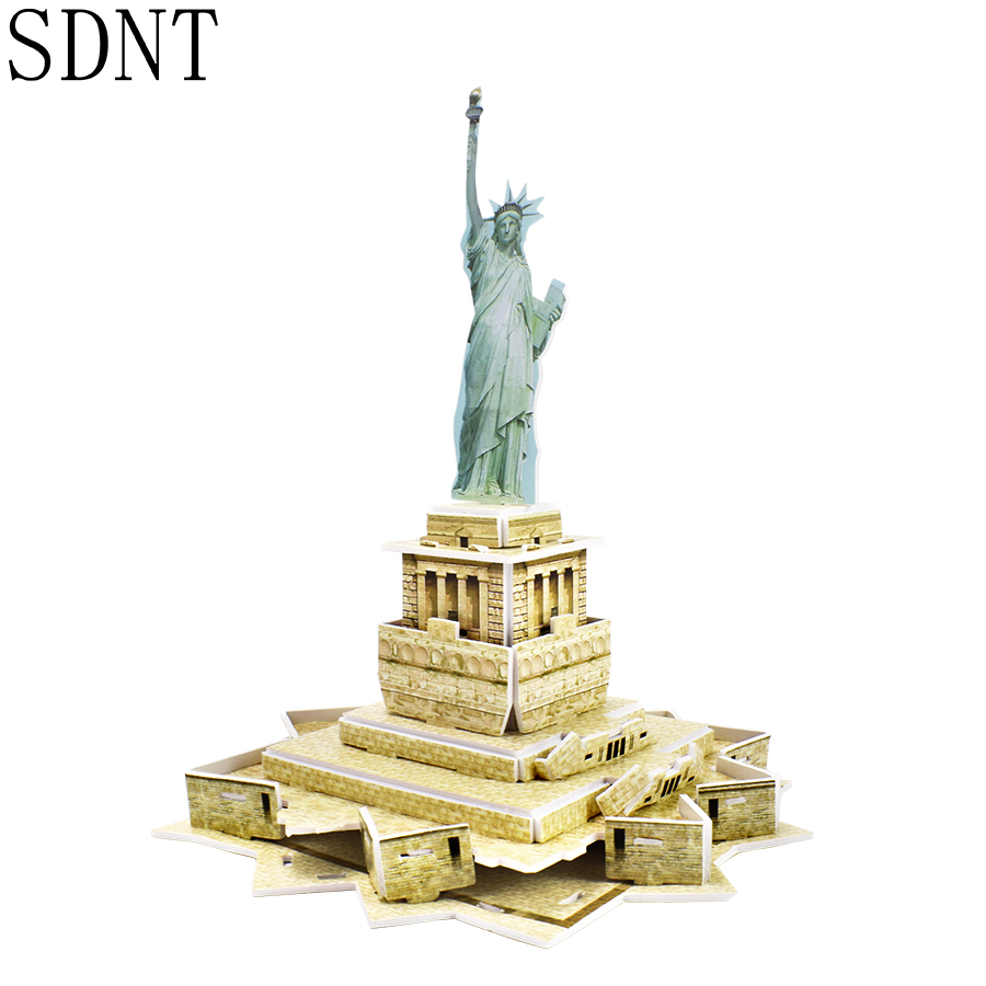 3D Paper Building Model Puzzles Toys For Kids DIY Statue Of Liberty World Attractions Assembled Model Kit Kids Educational Toys