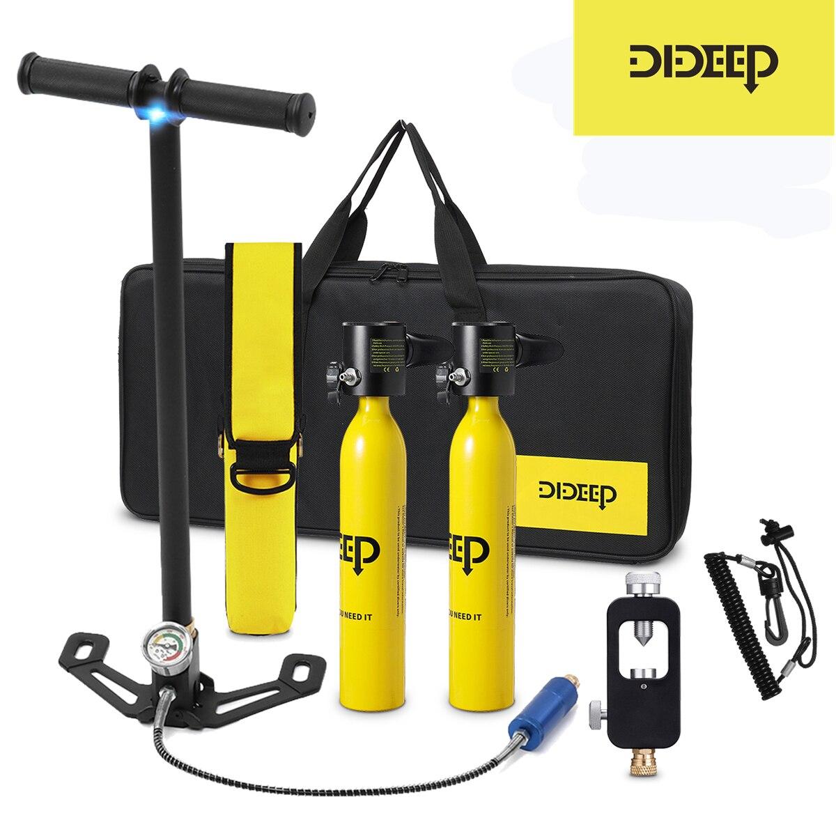 DIDEEP 0.5L Дайвинг Танк кислородный мини-цилиндр комплект респиратор Воздушный бак ручной насос для подводного плавания дыхание снаряжение дл...