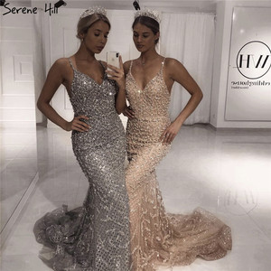 Image 1 - Dubai Grey Sexy Mermaid Prom Dresses 2019 Pearls Beading Luxury Sleeveless Prom Gowns Real Photo DLA60729