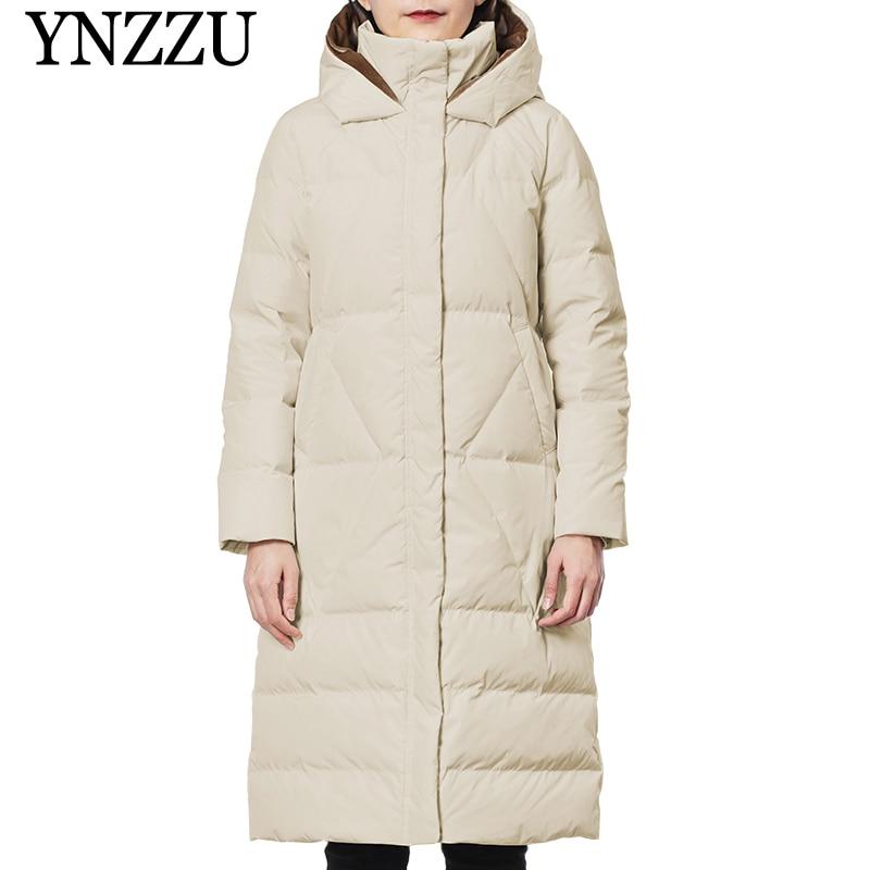 Winter Long sleeve Women   down   jacket 2019 Hooded Loose Elegant Female Long   Down     coat   Thick Warm Solid color Overcoat YNZZU YO997