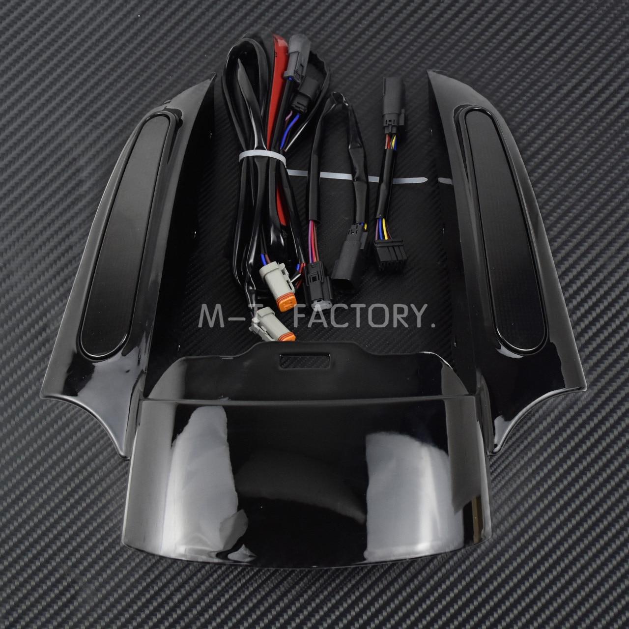 Motocicleta LED luz trasera guardabarros conjunto de fascia negro brillante para Harley Touring Electra Glide camino clásico King CVO deslizamiento callejero - 2