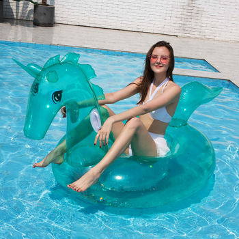 цена на Beach Swimming Pool Sequins Unicorn Mount Floating Row Transparent Water Inflatable Floating Chair Lounge Hammock Water Sport
