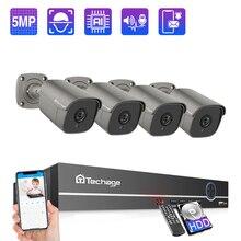 Techage 4CH 5MP POE NVR Kamera System AI Kamera Zwei weg Audio IP Kamera Im Freien Wasserdichte CCTV Video Security überwachung Kit