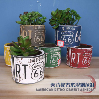 Retro Cement Ash Tray Nostalgic Creative Home Living Room Bar Restaurant Small Ornaments American-Style Decoration Craft Gift
