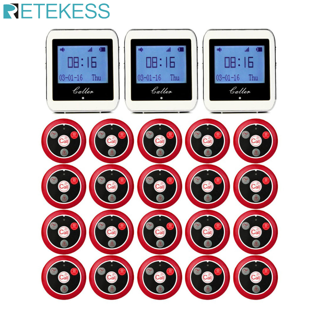 20pcs T117 Call Transmitter Button + 3pcs Watch Receiver Restaurant Pager Wireless Waiter Calling System Restaurant Equipment-in Pagers from Computer & Office