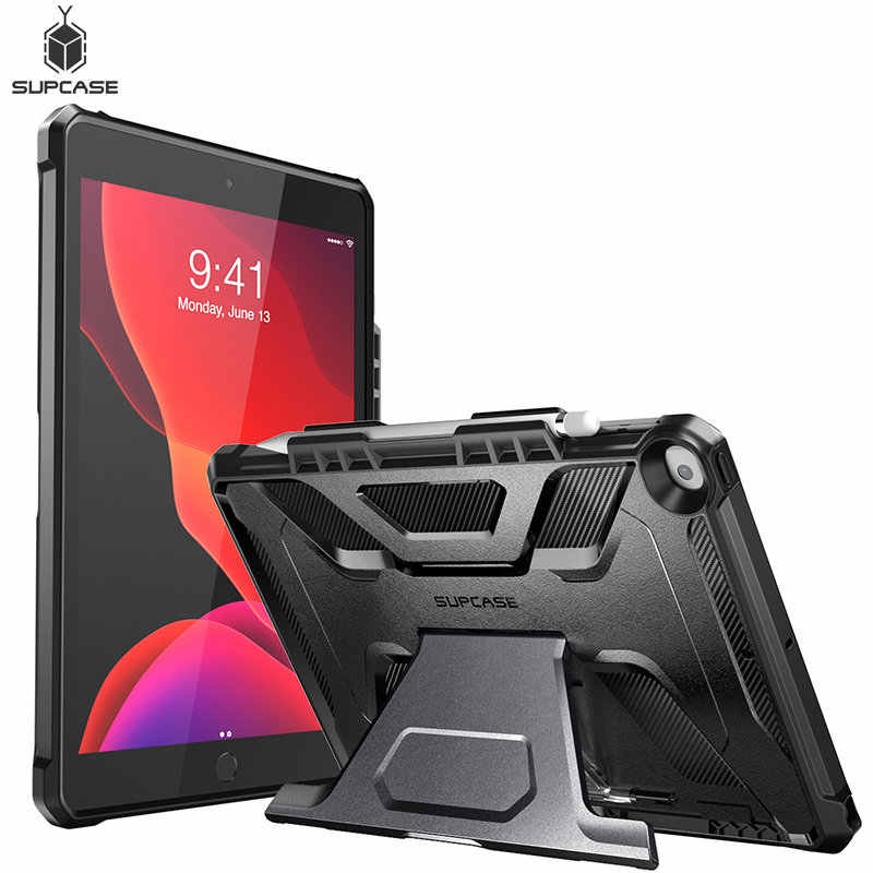 "For iPad 10.2 Case (2019) For iPad Air 3 Case 10.5"" SUPCASE UB Slim Rubber Cover with Built-in Apple Pencil Holder & kickstand"
