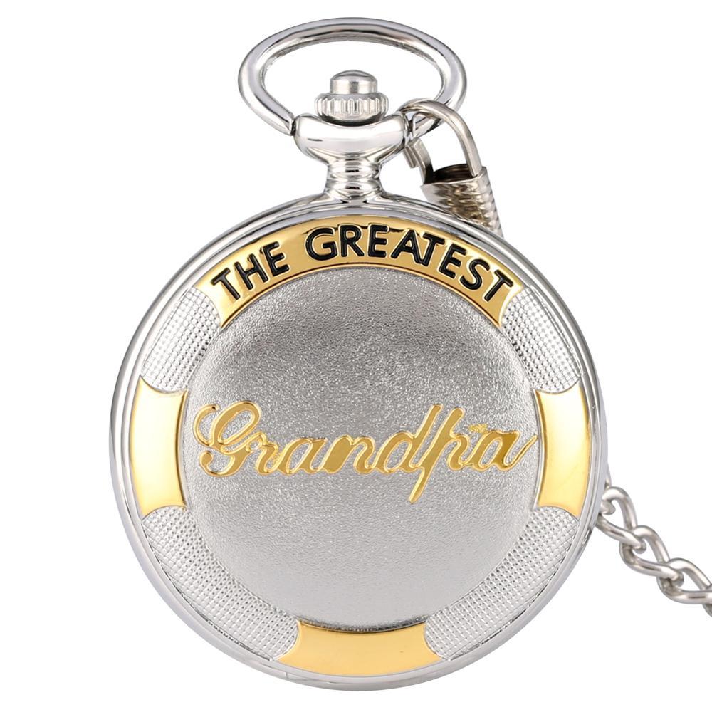 Hot Unique Pocket Fob Watches Classic The Greatest Grandpa Sliver Men Women Quartz Pocket Watch Necklace Pendant Gifts Reloj