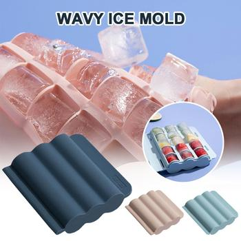 1Pc 15-ice Silicone Ice Cube Mold Wavey 15-Ice Tray with Leak-proof Lid for Whiskey Smoothie Shakes Easy-Release Molds image