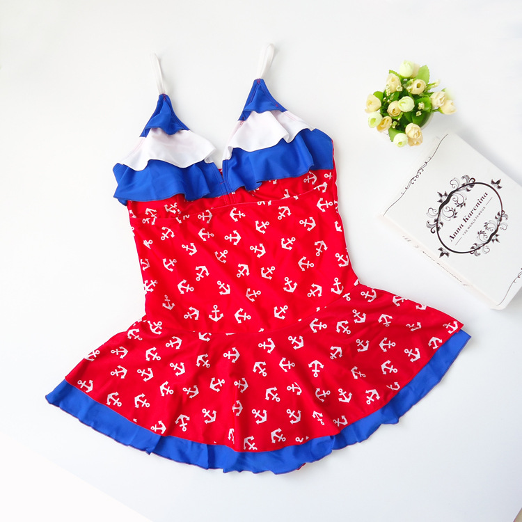 Processing Korean-style KID'S Swimwear Big Boy Students GIRL'S GIRL'S Swimsuit Skirt One-piece 5-15-Year-Old