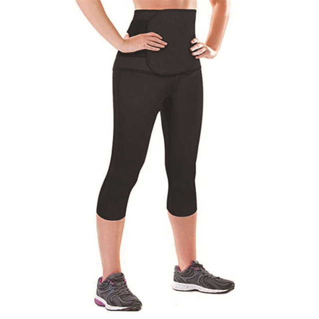 Women Sauna Yoga Pant Capris Leggings Fat Control Sweat Legging with Waist Trainer Belt Hot Sweat Shaper Pants Neorene Wetsuit 2