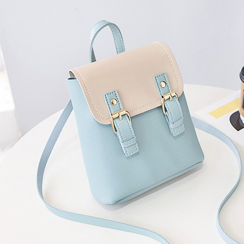 Womans Color Collision Small Backpack Cambridges Retro Style Student Daily Bag LXX9