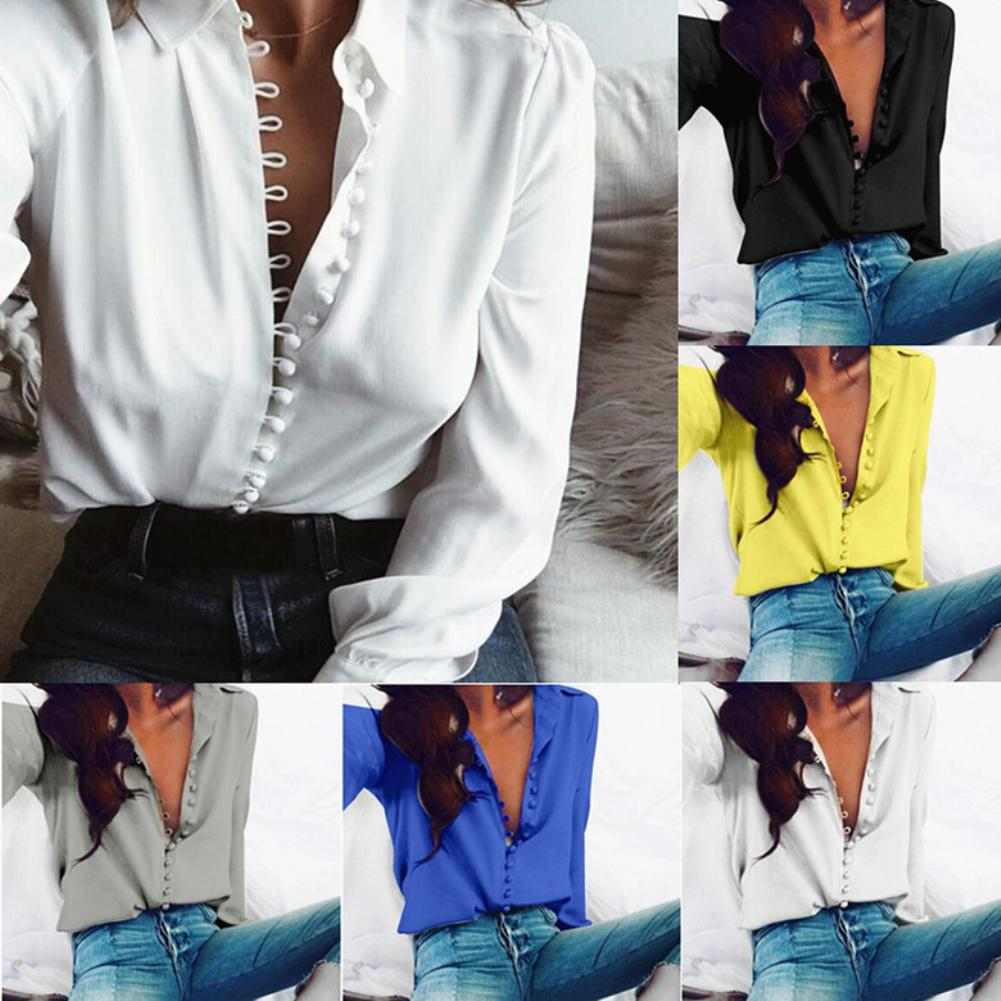 Plus Size Women Blouses Office Lady Solid Color Turn Down Collar Blouse Single-breasted Shirt Ladies Blouses Women Top Shirts