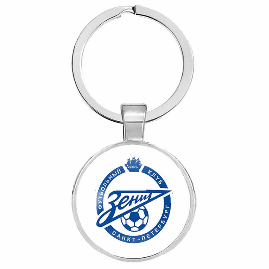 94 Gaya Klub Sepak Bola Logo Gantungan Kunci Perhiasan dengan Kaca Cabochon Tim Sepak Bola Logo Club Pesona Bungkus Kulit Dikepang Gantungan Kunci