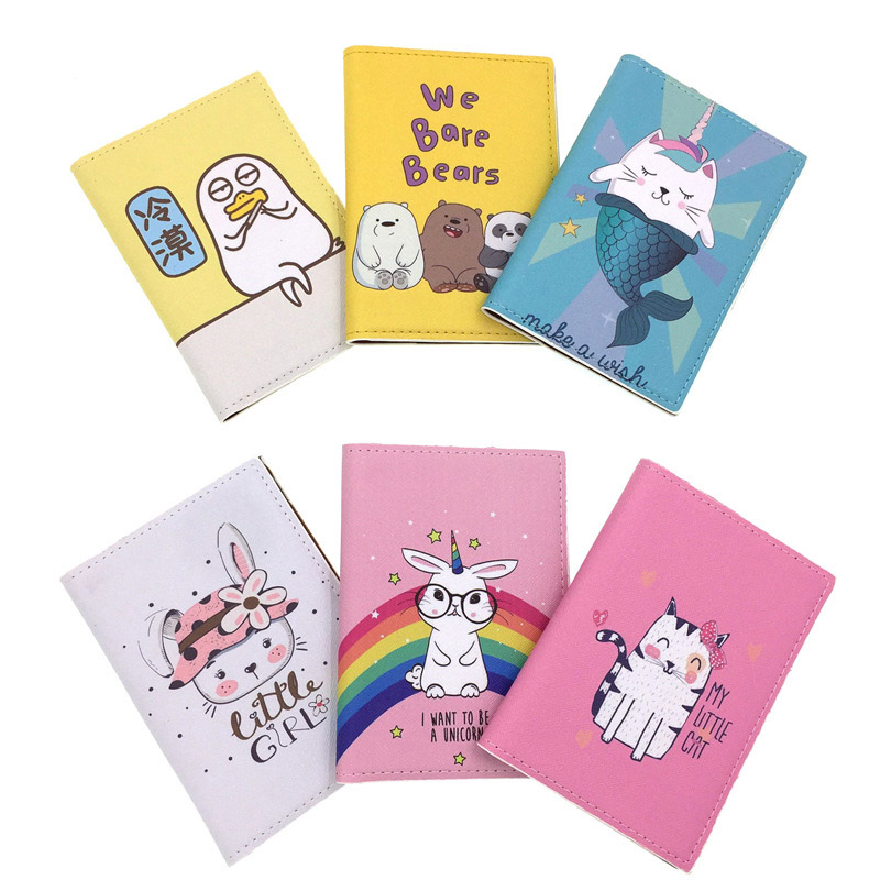 High Definition Color Printing Bear, Mermaid, Unicorn, Cat Passport Cover Travel Card Bag Passport Holder Documents Case