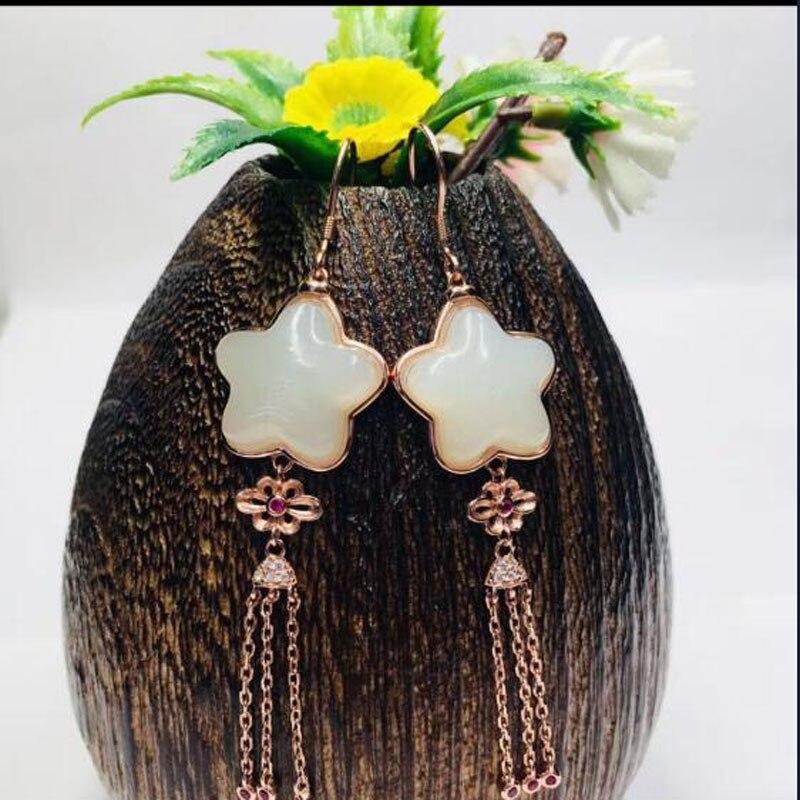 Chaude 925 en argent Sterling Hetian blanc Jade or chaîne avec des étoiles sculptées chanceux crochet boucles d'oreilles pour les femmes bijoux cadeau de noël