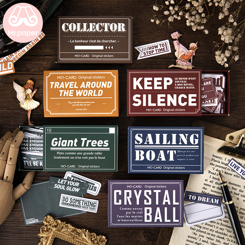 Mr.paper 60Pcs/box Vintage Retro Writable Lable Stickers Scrapbooking Bullet Journal Colourful English Words Stationery Stickers