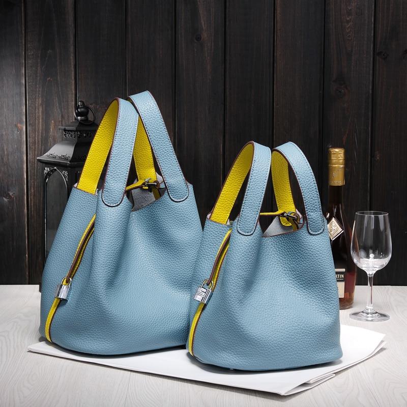 Famous Brand Luxury Handbag 2019 New Women Bag Hight Quality Ladies Genuine Leather Bags Designer Lock Shopping Totes Bucket Bag