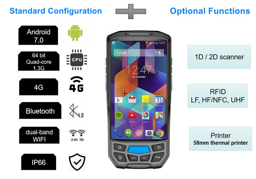 barras 1D 2D 4G Wifi Bluetooth GPS