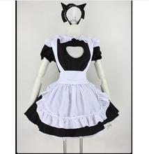 Sexy Lace Maid  Costume Set Party Dress Women Lingerie Hollow out Black White Red Cosplay Lolita Erotic Uniform Apron 2019 Hot women s fashionable sexy cat style cosplay sleep dress set black