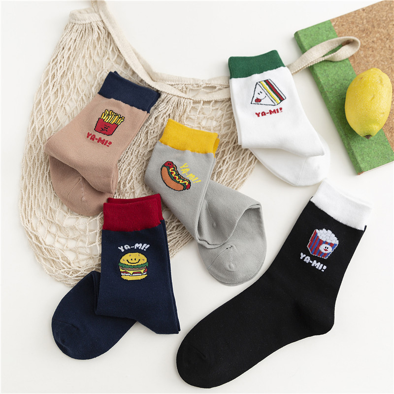 SP&CITY 5 Pairs New Arrivals Women Cartoon Food French Fries Patterned Short Ankle Socks Female Casual Ins Student Funny Sox