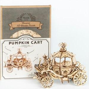 Image 5 - Robotime 3D עץ פאזל משחקי הרכבה דלעת עגלת דגם צעצועים לילדים ילדים בנות מתנת יום הולדת