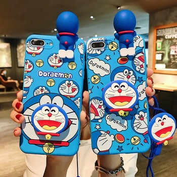 Cartoon Love Doraemon Couple TPU Case for Huawei P20 P30 P40 Lite Nova 3 3i 4 5 6SE 7i Pro 3D cute Doll Stand With Lanyard Cover image