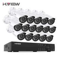 H. View 16CH system nadzoru 16 1080P zewnętrzna kamera bezpieczeństwa 16CH CCTV zestaw dvr nadzór wideo iPhone Android zdalny podgląd