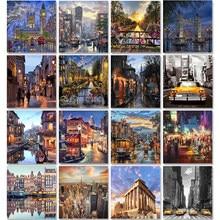 Pintura de paisaje de la ciudad por números para adultos, Kits artesanales, pintada a mano en lienzo con imagen de aceite enmarcado, dibujo para colorear por número