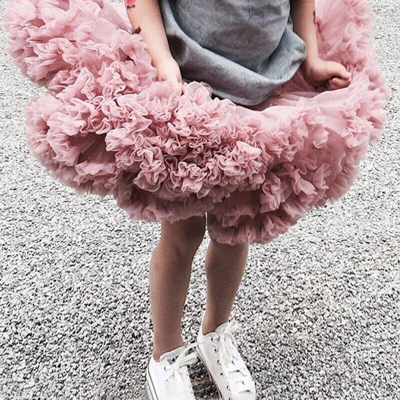 HOT Girls Tutu Skirts Solid Fluffy Tulle Princess Ball Gown Pettiskirt Kids Ballet Party Performance Skirts for Children W-PP001