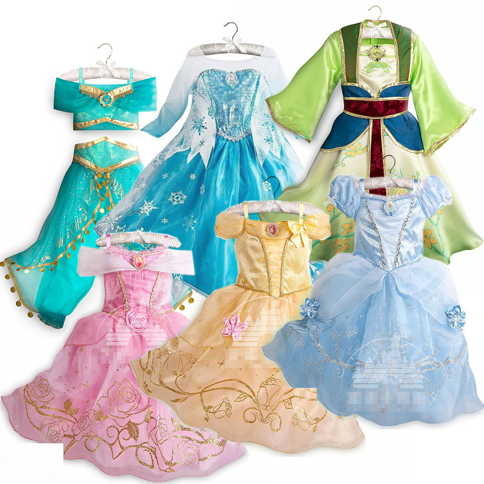 Dressy Girls Princesses Dress Up Elsa Anna Rapunzel Aurora Belle Snow White Jasmine Costume Kids Fancy Unicorn Maleficent Minnie