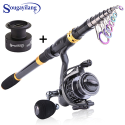 Sougayilang 1.8M-3.3M Telescopic Fishing Rod and 13+1BB Spinning Reel Combo with Free Spare Graphite Spool for Travel Fishing