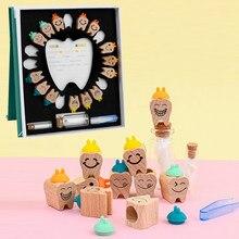 Drewniane pudełko na zęby mleczne zęby mleczne organizator przechowywanie kolekcja chłopiec dziewczyna pamiątkowe etui niemowlę dziecko urocze prezenty dla dzieci Keepsake