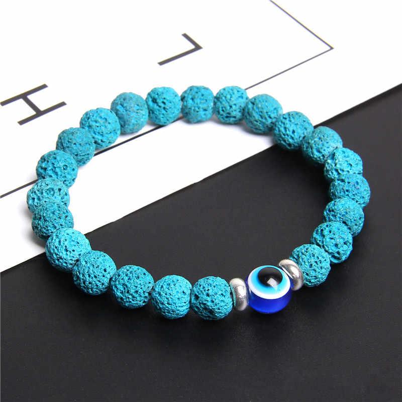 8 mm טבעי לפיס לזולי חרוזים צמידי לזוגות כחול קריקטורה עין רעה צמיד נשים תכשיטי יום הולדת מתנה Homme צמיד