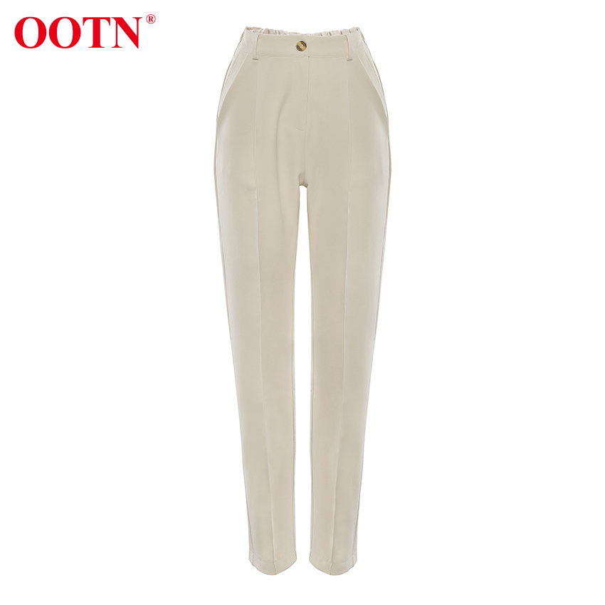H3f60cedf02ce4858a5518ecab741e669D - OOTN Casual High Waist Khaki Pants Women Summer Spring Brown Ladies Office Trousers Zipper Pocket Solid Female Pencil Pants