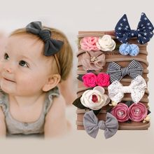 #40 1 conjunto 10 pçs crianças infantil bandana bebê menina arco-nó grampo de cabelo conjunto bowknot impressão algodão elástico turbante bandana bandeau