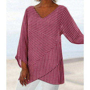 Jocoo Jolee Spring Plus Size Striped Long Sleeve V Neck Linen Baggy Blouse Shirt Ladies Summer Tunic Tops Casual Loose Shirt 4