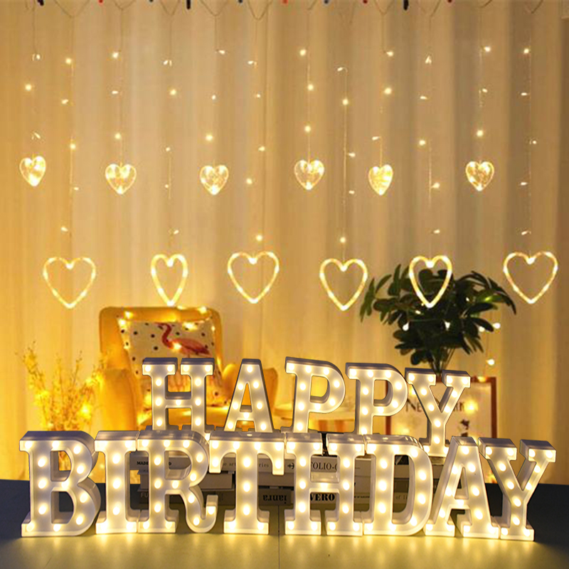 LED English Letter Night Light Alphabet Battery Marquee Sign Number Lamp Indoor Home Culb DIY Wedding Birthday Party Decoration