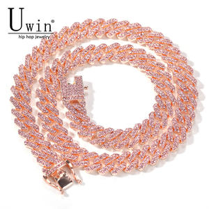 Uwin Necklace Chain Jewelry Cuban-Link Rhinestone Bling-Charm-Hiphop Miami Rose-Gold