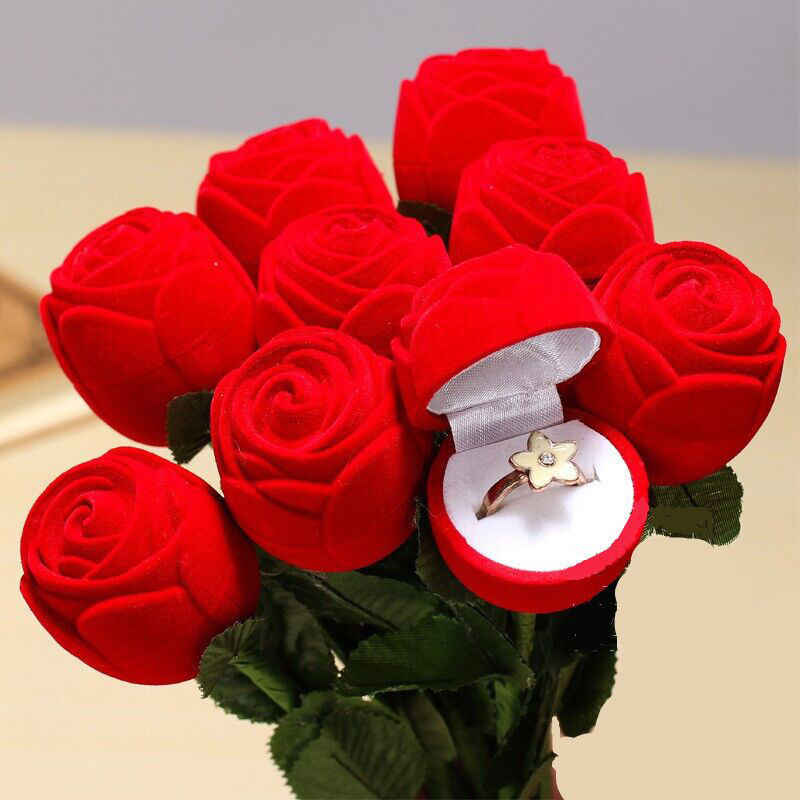 1 pcs Red Velvet Rose Engagement Pernikahan Earring Cincin Pendant Perhiasan Kotak hadiah Penyimpanan Kasus Fit Untuk Rings Dan Stud Earrings hot