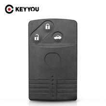 KEYYOU wymiana inteligentny karty obudowa pilota z kluczykiem samochodowym 2/3/4 przyciski Uncut wkładki ostrze Fob dla Mazda 5 6 CX-7 CX-9 RX8 Miata MX5