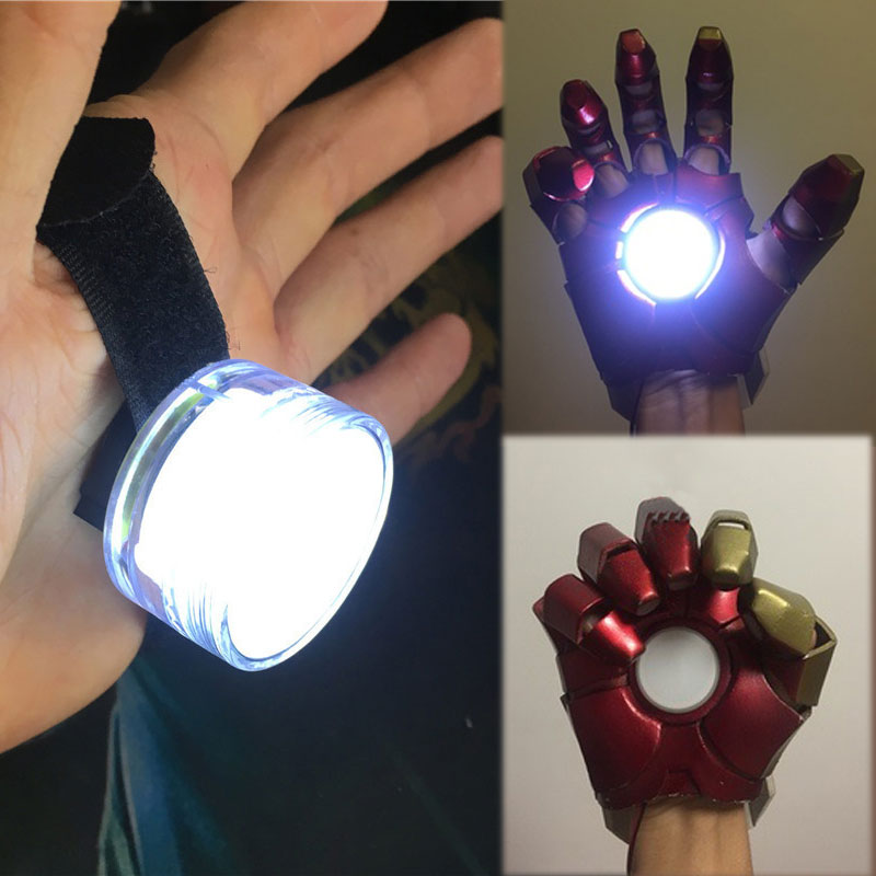 DIY LED Light Controlled Accessories For Iron Man Tony Stark Hand Led Lamp Glove Palm Lights Cosplay Props CR2032 model Light