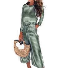 Goocheer Fashion Women Jumpsuits Long Sleeve Striped Wide Leg Female Autumn Sashes Playsuits Culotte