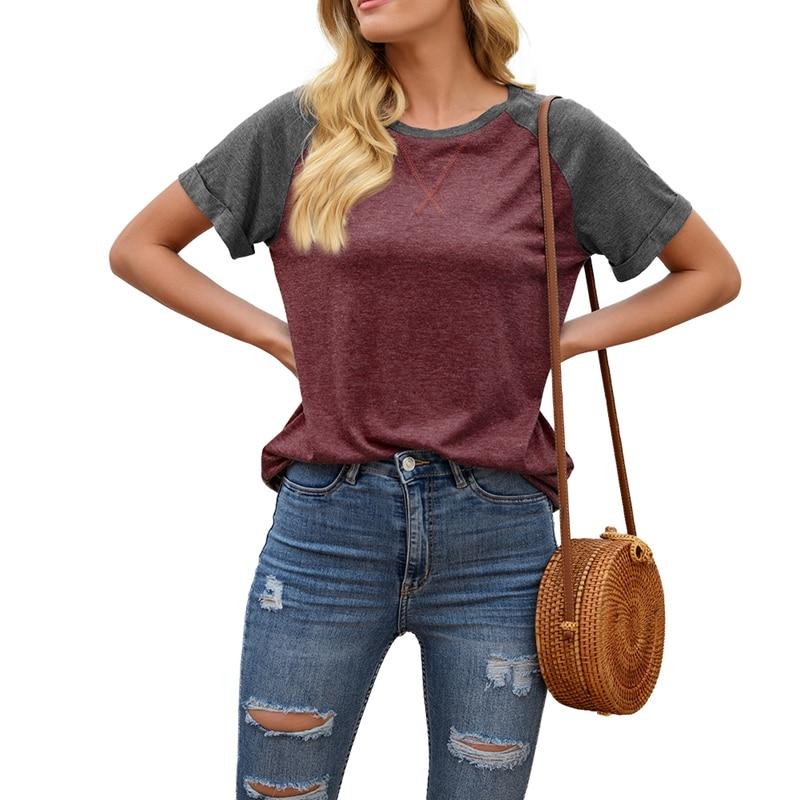 Summer Short-sleeved Shirt Splicing Short-sleeved Solid Color Casual Version Loose Short Sleeve T1