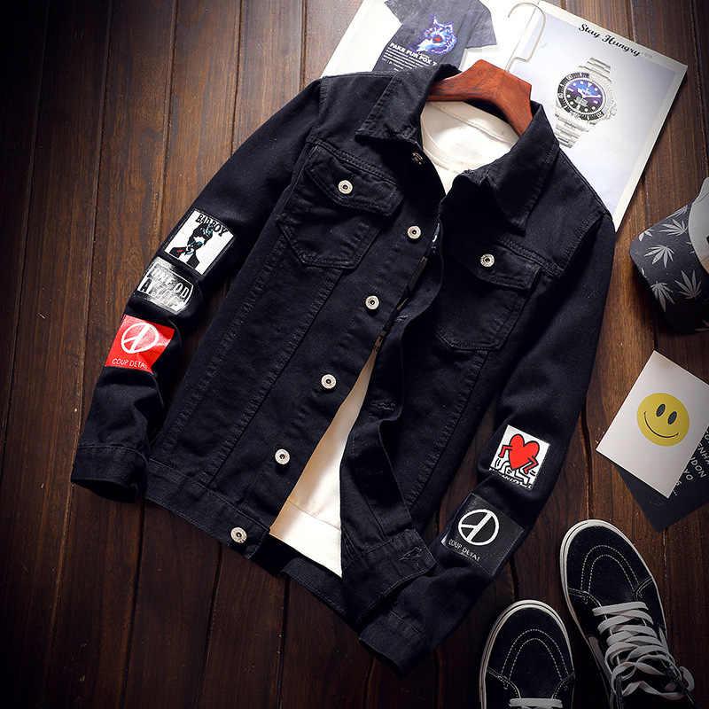 Красивый студенческий черный и белый с узором джинсовое пальто для мужчин корейский стиль Slim Fit Большой размер тренд куртка с принтом Осень Новый S