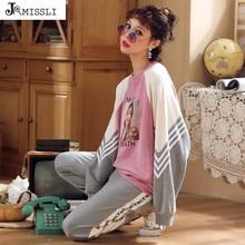 JRMISSLI Pijama de algodón para mujer, ropa de dormir femenina de manga larga de talla grande, Conjunto de pijama de salón, ropa de hogar