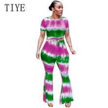 TIYE Long Rompers Womens Jumpsuit Summer Two Piece Set O-Neck Short Sleeve Tie Dye Print Wide Leg Pants Overalls